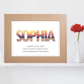 Sunrise Name Print - Personalised Baby or Christening Gift